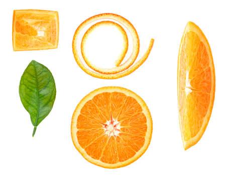 Orange slices, orange leaf and orange peel isolated on white background, top view. Vitamin C. Detox conception.