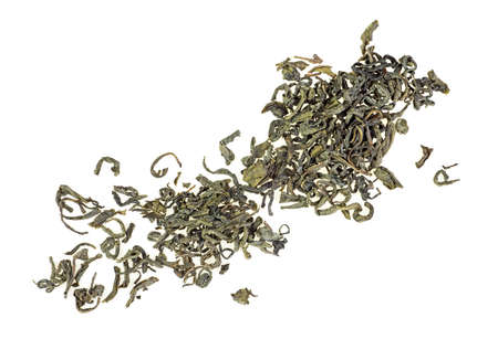 Heap of Chinese green tea on a white background Stok Fotoğraf