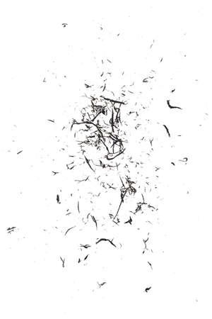 Eraser scrap on white background, black color. Top view.