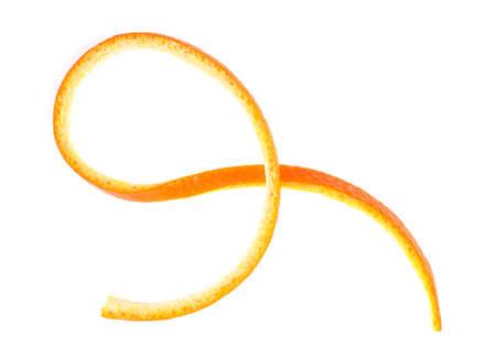 Fresh orange peel isolated on white background, top view.