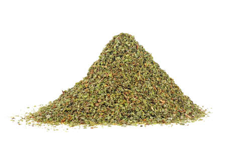 Heap of dried marjoram spice isolated on a white background. Origanum majorana.