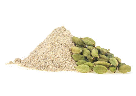 Pile of cardamom spices isolated on a white background, powder and pods.