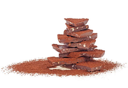 Milk chocolate bar with cocoa powder on a white background 写真素材 - 131925558