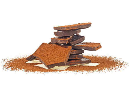 Dark chocolate bar and cacao powder isolated on white background 写真素材