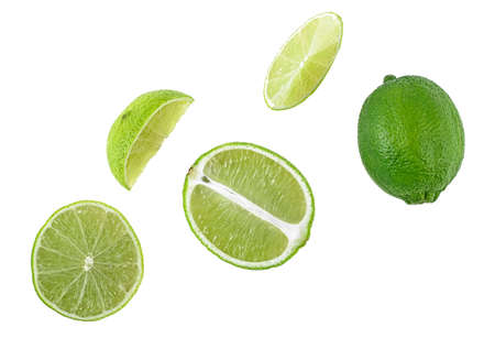 Set of lime fruits isolated on white background,  whole and slices. Top view. Banque d'images - 132312659