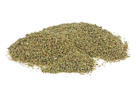 Pile of dried oregano leaves isolated on white background Zdjęcie Seryjne