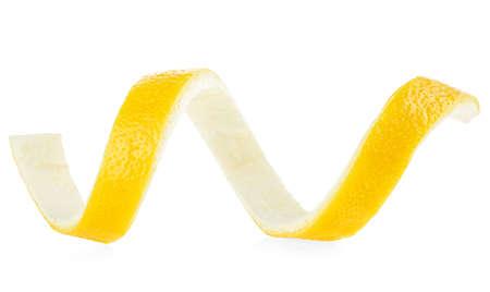 Spiral of lemon skin isolated on a white background. Lemon twist.