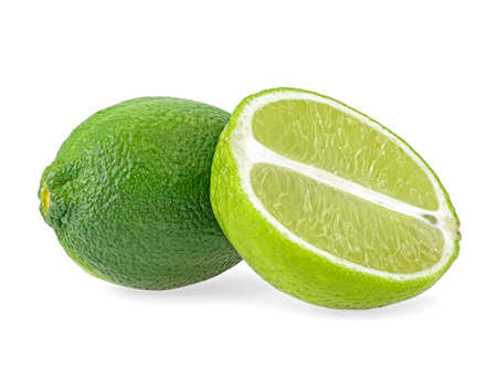 Citrus lime fruit isolated on white background. Whole and cut lime fruit.