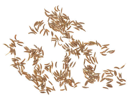 Cumin seeds isolated on a white background, top view. Caraway seeds.