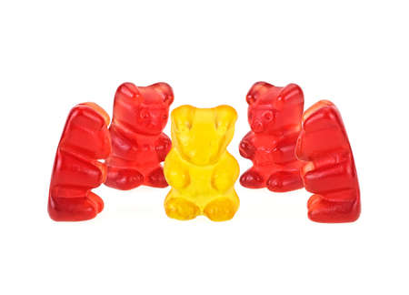 Colorful jelly bears isolated on white background