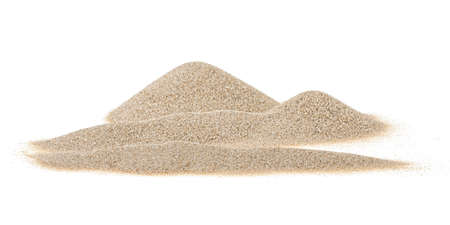 Pile of dry desert sand isolated on white background, front view. Sand dunes.