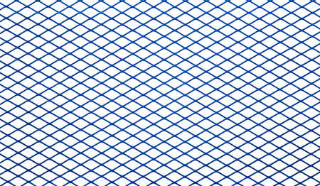 Texture of blue metal mesh isolated on a white background