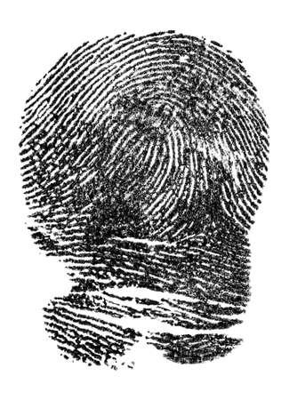 Fingerabdruck der schwarzen Tinte lokalisiert auf einem weißen Hintergrund. Fingerabdrücke der Polizei.