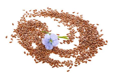 Semillas secas de lino con flor aislado sobre un fondo blanco.