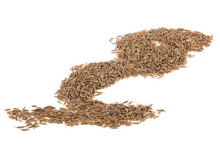 Pile of cumin seeds isolated on a white background. Caraway. Zira. Stock Photo
