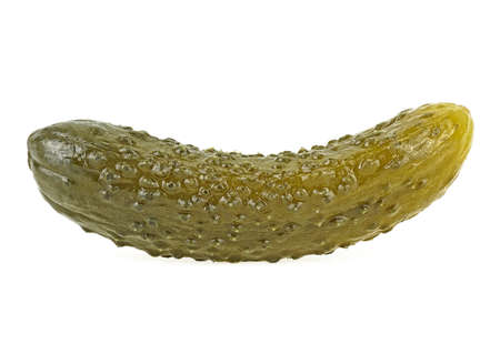 Marinated cucumber isolated on a white background.  Gherkin. Salted cornichon.