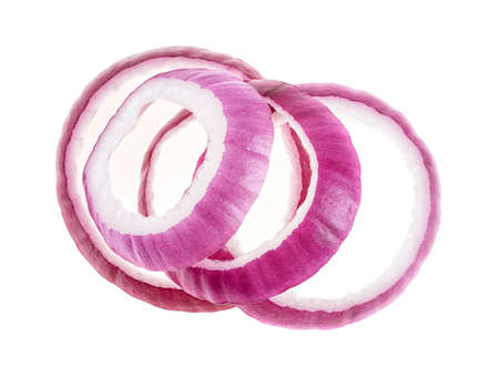 Sliced red onion isolated on a white background, top view. Фото со стока