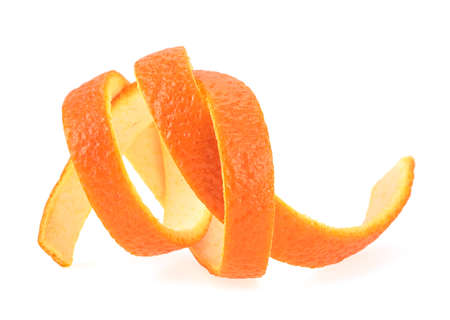 Organic orange peel separated on a white background. Juicy orange skin.
