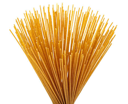 Spaghetti, bunch of whole-grain pasta isolated on a white background.