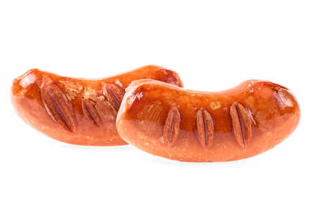 Grilled sausages isolated on a white background. BBQ roasted pork sausages.