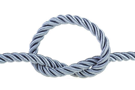 Rope knot isolated on a white background. Simple knot.
