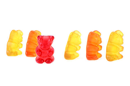 Jelly bears candies isolated on a white background. Colorful gummy bears. Childhood.