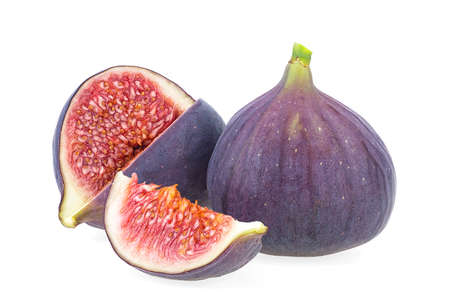 Fresh figs isolated on a white background. Sliced fresh figs on white.