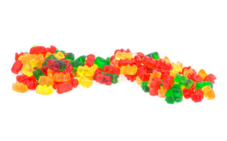 Colorful eat gummy bears isolated on a white background. Jelly bears. Pile of colorful jelly bears. Standard-Bild - 151455528