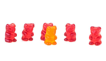 Jelly gummy bears isolated on a white background. Colorful eat gummy bears. Jelly candy.