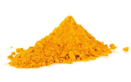 Dry turmeric powder isolated on a white background. Pile of curcuma powder.
