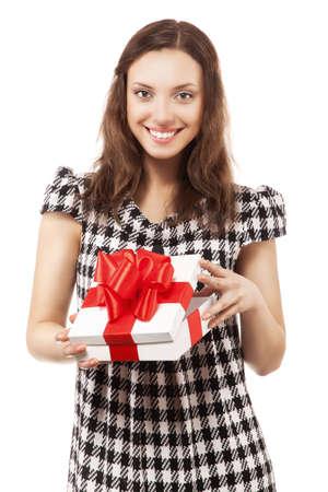 Beautiful brunette girl opening gift box, looking at camera photo
