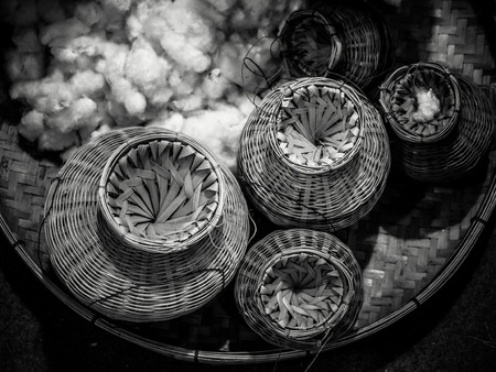 blackwhite: Bamboo Basket Creel Fish Black&White tone