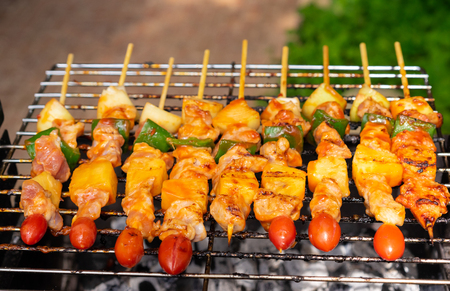 closeup of barbecue on grill