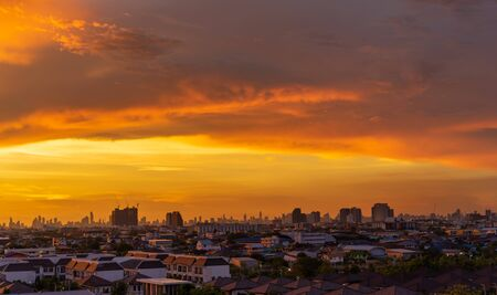 Cityscape with beautiful sky at evening time in Thailand