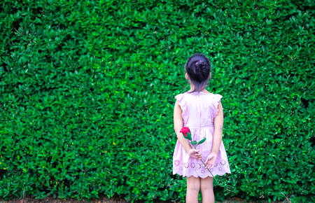 cute little asian girl in dress stand back and holding a red rose in the park