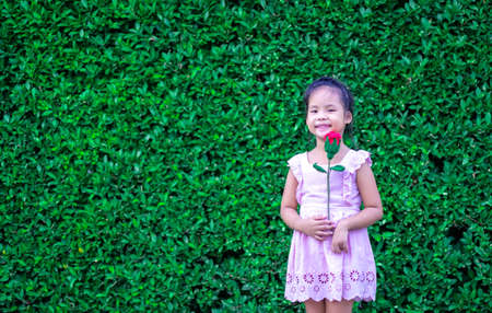 cute little asian girl in dress holding a red rose in the park 版權商用圖片