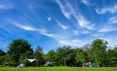 Ratchaburi, Thailand​ -​  July 28, 2020​ : Travelers come to camping in nature park on holiday