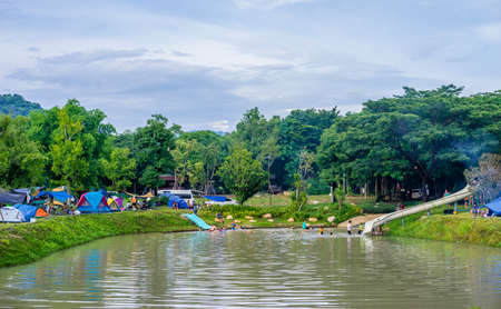 Saraburi, Thailand​ -​  September 4, 2020​ : Travelers come to camping in nature park on holiday