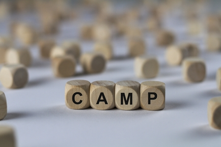 camp - cube with letters, sign with wooden cubes