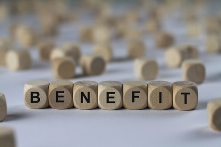 benefit - cube with letters, sign with wooden cubes Stock Photo