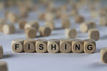 pursuing: fishing - cube with letters, sign with wooden cubes Stock Photo