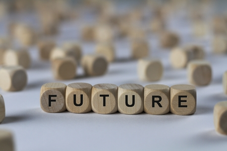 hereafter: future - cube with letters, sign with wooden cubes Stock Photo