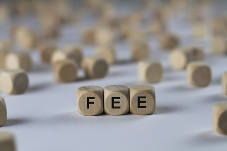 emolument: fee - cube with letters, sign with wooden cubes Stock Photo