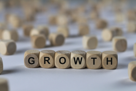 outgrowth: growth - cube with letters, sign with wooden cubes