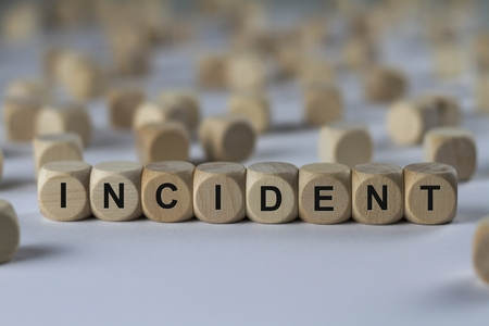 contingency: incident - cube with letters, sign with wooden cubes