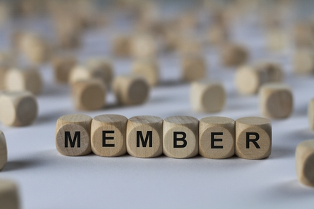 member - cube with letters, sign with wooden cubes