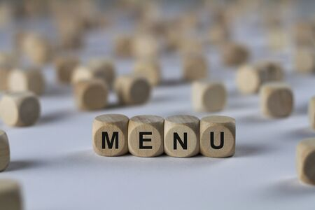 menu - cube with letters, sign with wooden cubes