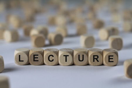 reprimand: lecture - cube with letters, sign with wooden cubes