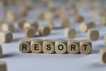 recourse: resort - cube with letters, sign with wooden cubes Stock Photo