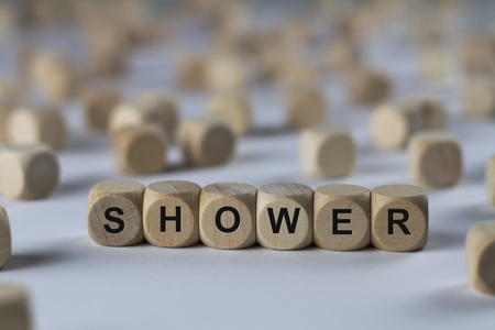 deluge: shower - cube with letters, sign with wooden cubes
